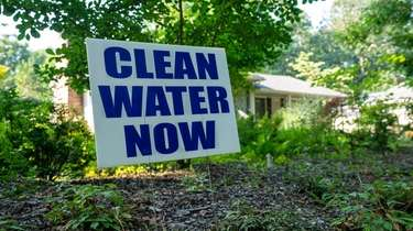 """Some Manorville residents have been displaying """"Clean Water"""