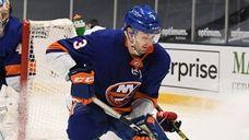 New York Islanders defenseman Adam Pelech skates with