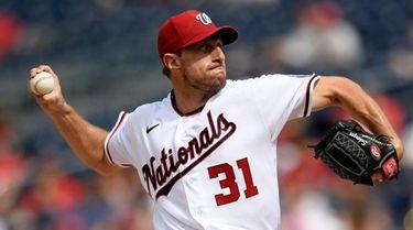 Nationals starter Max Scherzer delivers a pitch during