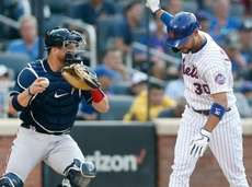 Michael Conforto of the Mets reacts after striking