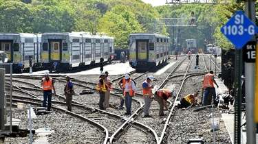 LIRR employees in Speonk working on the tracks.