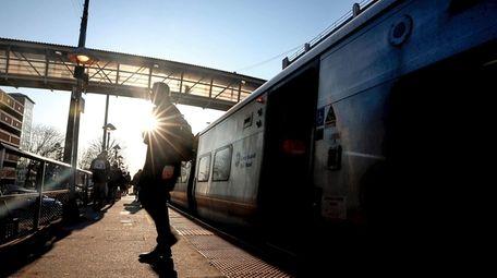Passengers at the Long Island Rail Road station