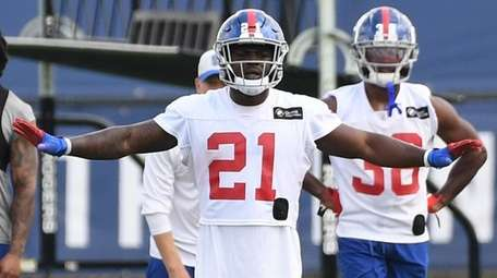 Giants free safety Jabrill Peppers gestures during training