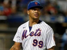 Taijuan Walker of the Mets walks to the