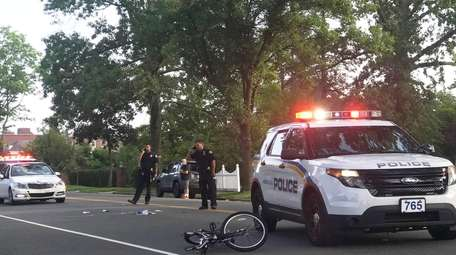 Police at the scene of a collision involving