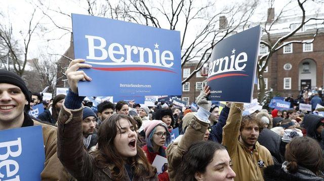Supporters wait for Vermont Sen. Bernie Sanders to
