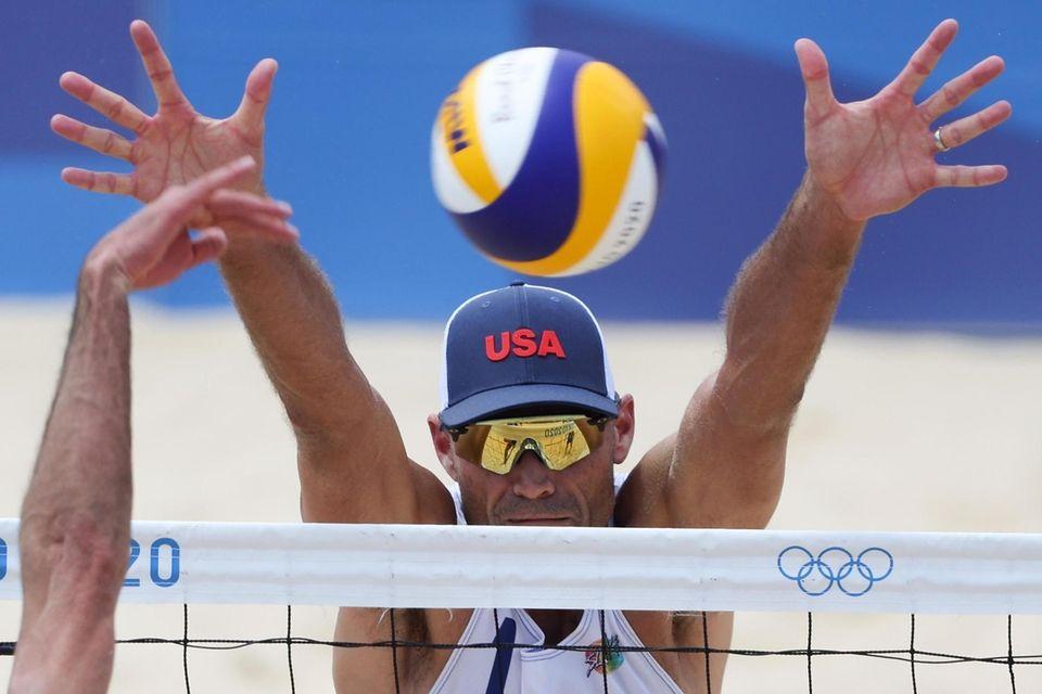 Philip Dalhausser #1 of Team United States attempts