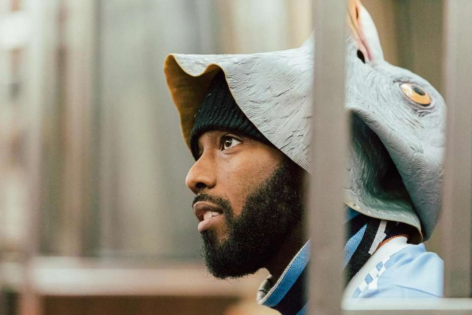 NYCFC supporter Omari McCleary models the club's new