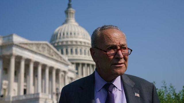 Senate Majority Leader Chuck Schumer arrives at the