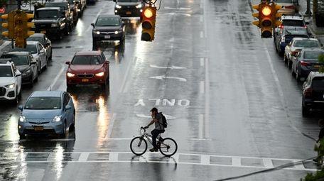 A person crosses Great Neck Road in Copiague,