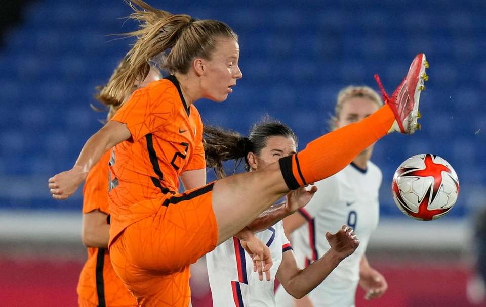 Netherlands' Lynn Wilms stretches for a ball during