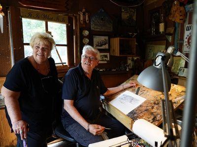 Artist Bill Kuchler, right, in his studio in