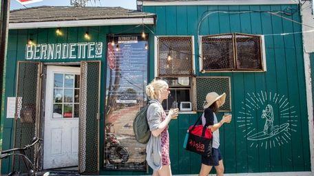 Outside Bernadette's, on Rockaway Beach Blvd., in the