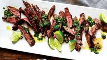 Skirt steak is marinated, cooked, and served with