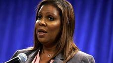New York Attorney General Letitia James speaks during
