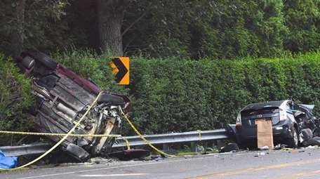 The scene of a deadly crash on Montauk
