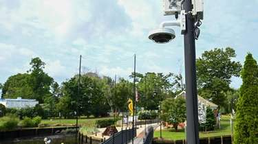 A security camera on a pole inside Grangabel