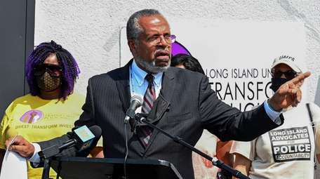 Attorney Frederick Brewington speaks during a press converence