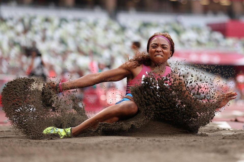 Quanesha Burks of Team United States competes in