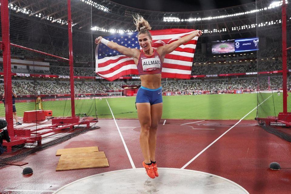 Valarie Allman of Team United States celebrates with