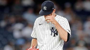 Andrew Heaney of the New York Yankees reacts