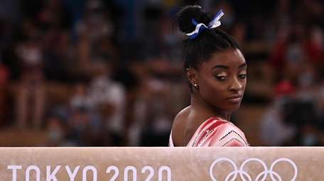 USA's Simone Biles gets ready to compete in