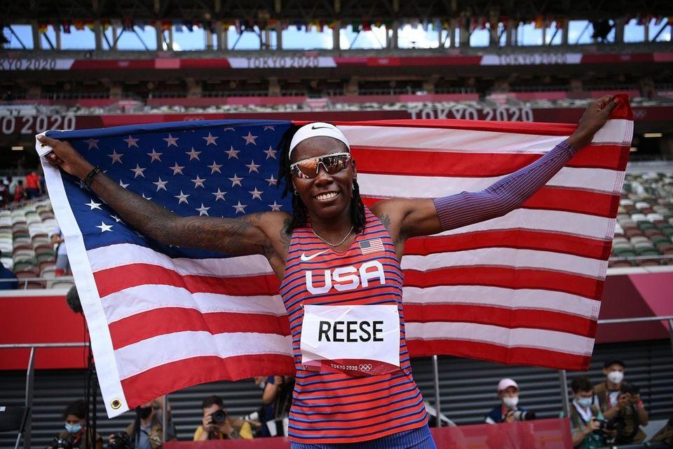 Brittney Reese of Team United States celebrates winning