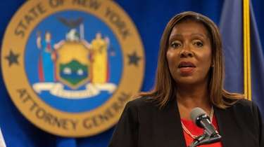 New York Attorney General Letitia James announces the