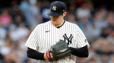 Jordan Montgomery of the Yankees reacts on the