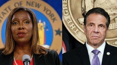New York Attorney General Letitia James, left, presents