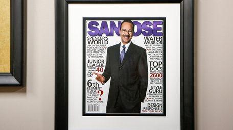 A framed magazine cover of Spencer Christian, 74,