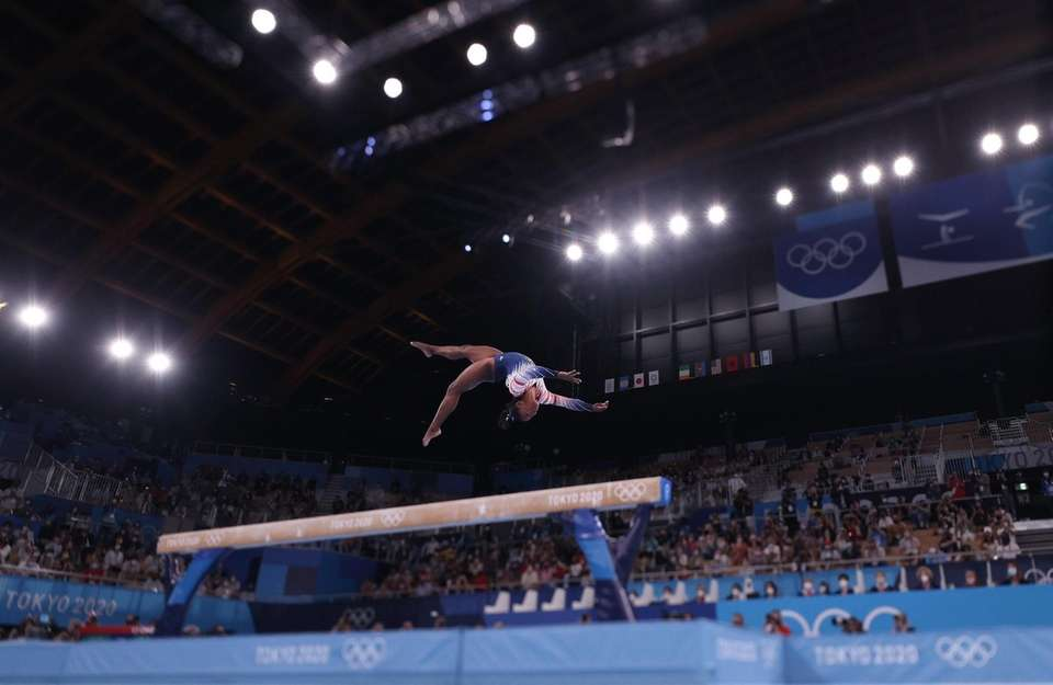 Simone Biles of Team United States in action