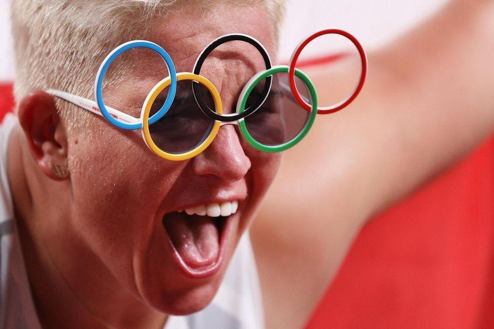 Anita Wlodarczyk of Team Poland celebrates after winning