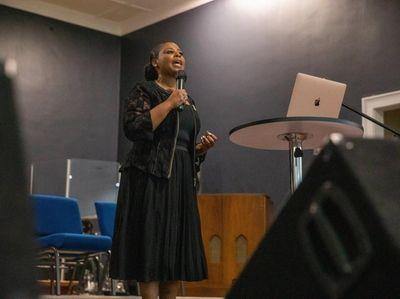 Pastor Dawn Mixon delivers a sermon on July