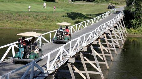 Golf carts on the bridge at Shawnee Inn