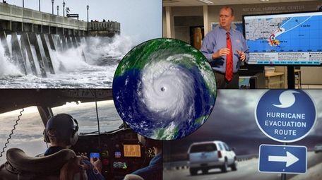 Collage depicts hurricane storm surge, NOAA National Hurricane