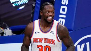 Julius Randle of the Knicks reacts after a