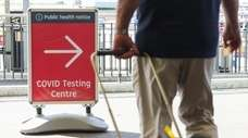 A sign for the Covid-19 testing centre at