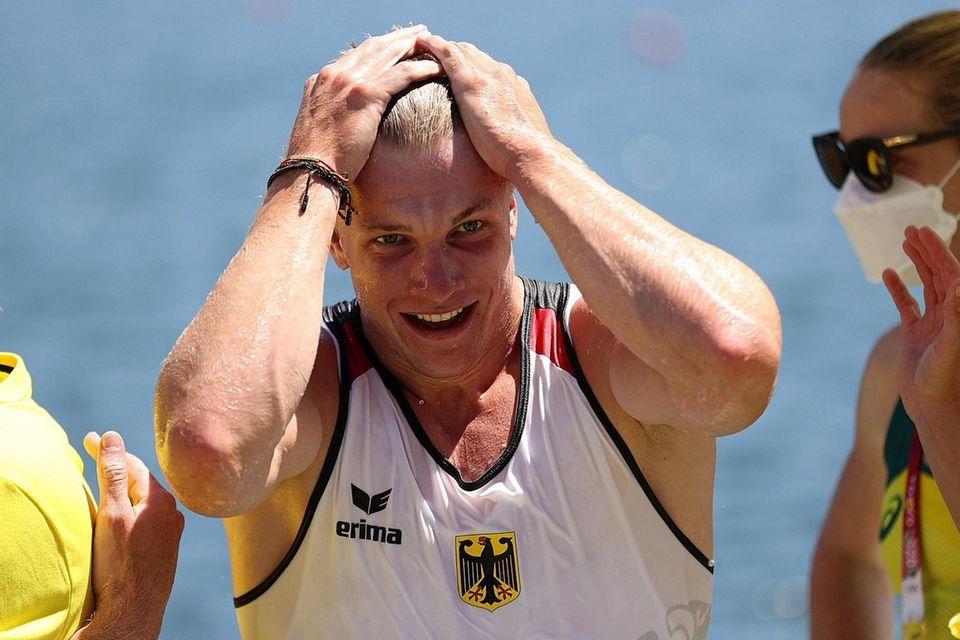 Jacob Schopf of Team Germany reacts to winning