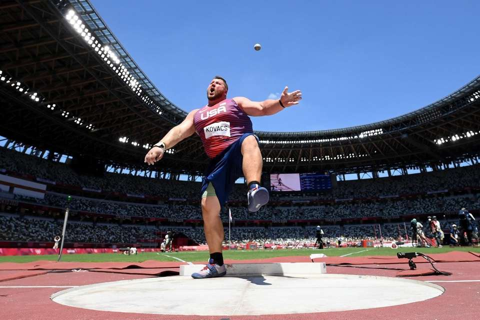 Joe Kovacs of Team United States competes in