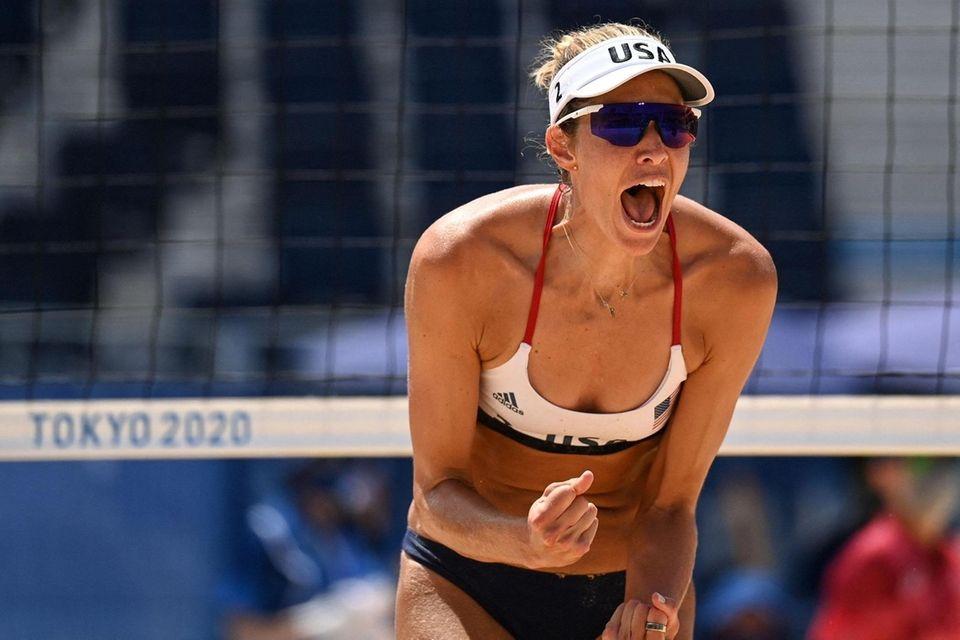 USA's Alix Klineman reacts in their women's beach