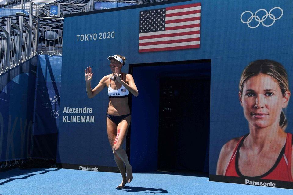USA's Alix Klineman appears before their women's beach