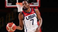 Kevin Durant of the United States brings the
