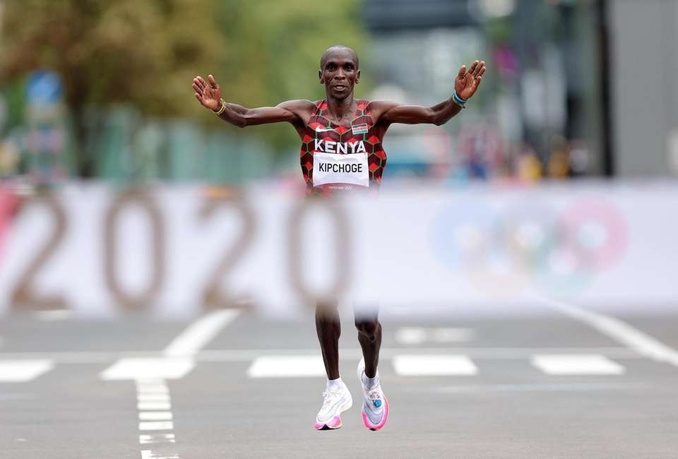 Eliud Kipchoge of Team Kenya is about to
