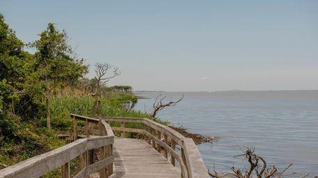 A boardwalk trail that leads through the Sunken