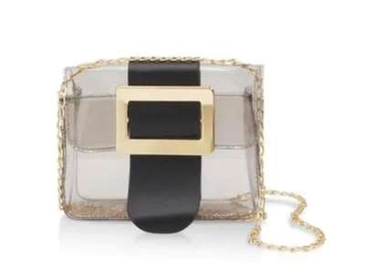 Buckle up your belongings in this eye-catching bag,