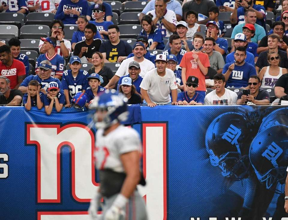 New York Giants watch from the stands as