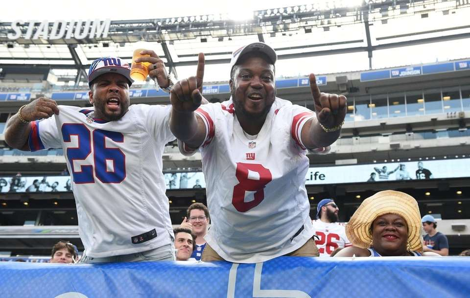 New York Giants fans cheer in the stands