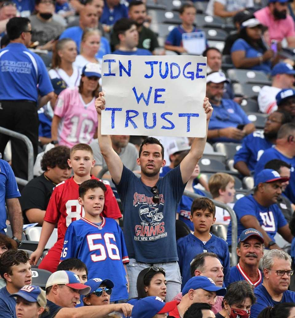 A New York Giants fan in the stands