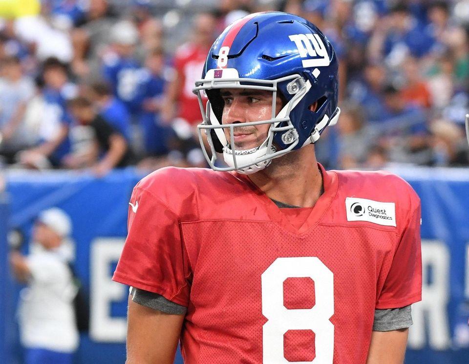 New York Giants quarterback Daniel Jones looks on